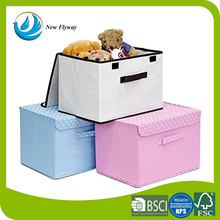 High Quality Promotional Living Folding Clear Tool Non-Woven Fabric Soft Toy Storage Organizer Box Set with Lid