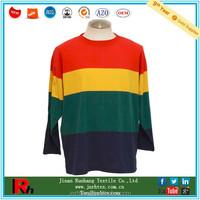 Colorful design custom men cotton crew neck long sleeve striped tshirt