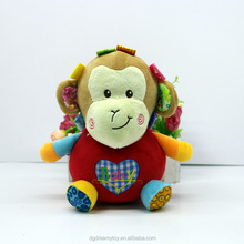plush musical monkey baby rattle squeaky toys