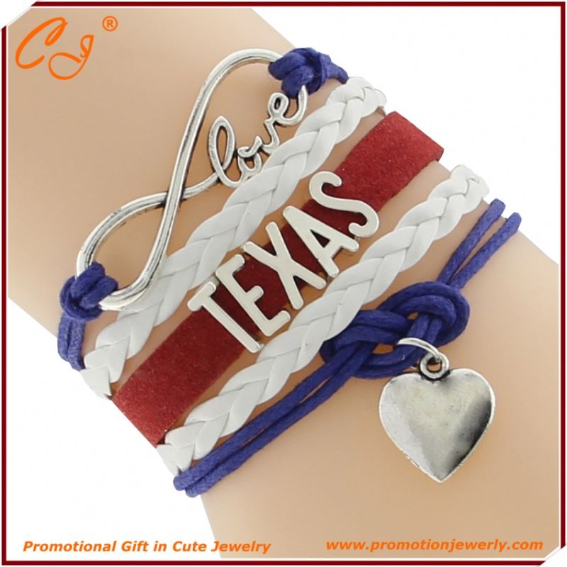 TEXAS France Heart Purple White Red Layered Wire Hand Chain