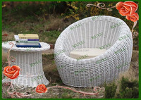 Hot sale cheap durable poly white plastic garden rattan round outdoor furniture,plastic rattan woven furniture outdoor
