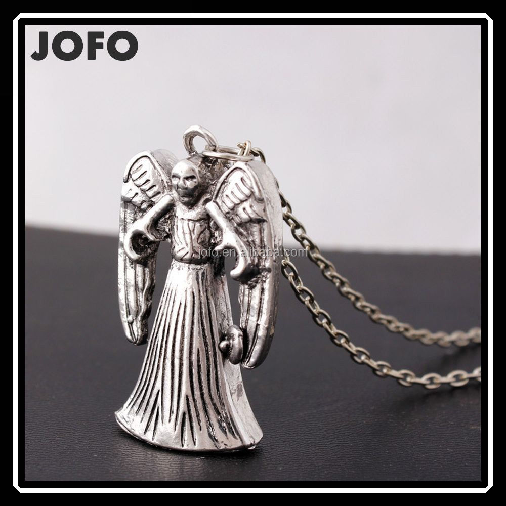 Hot Fashion Doctor Who Retro Silver Weeping Angle Two Faced Pendant Necklace MIXJ0008