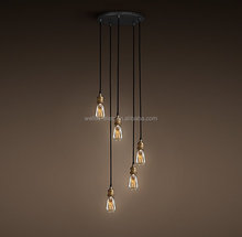 20th C. Factory Filament Bare Bulb Collection Aged Iron Single Pendant Light Industrial Lighting