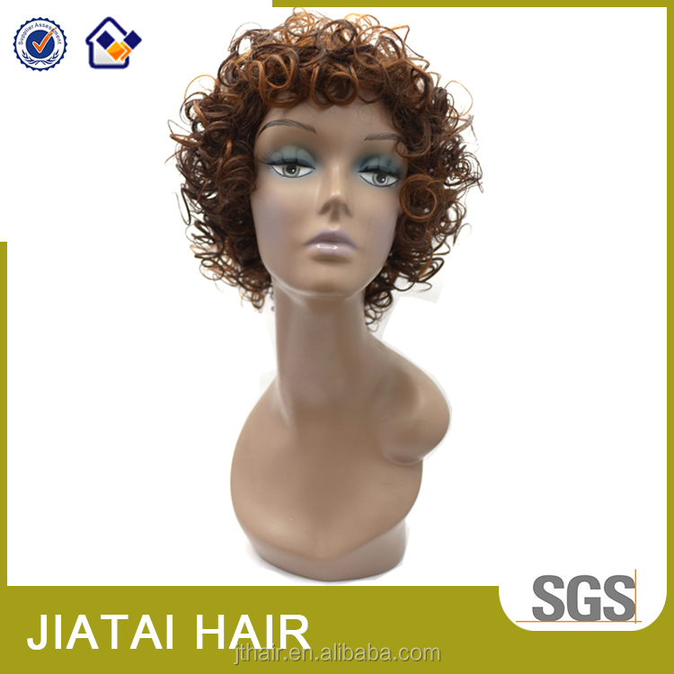 Hot selling highlight color afro curl fiber synthetic hair wigs