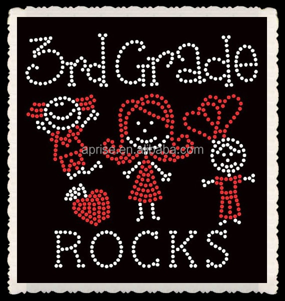 Aprise - School 3rd Grade Rocks Wholesale Iron On Letters Rhinestone Heat Transfer