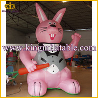 Commercial Pink Inflatable Bunny With Carrot, Advertising Inflatable Animal Cartoon