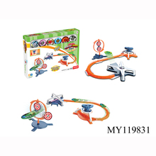 Novelty top toys orbital gyro competitive plastic toy railway track spinning top