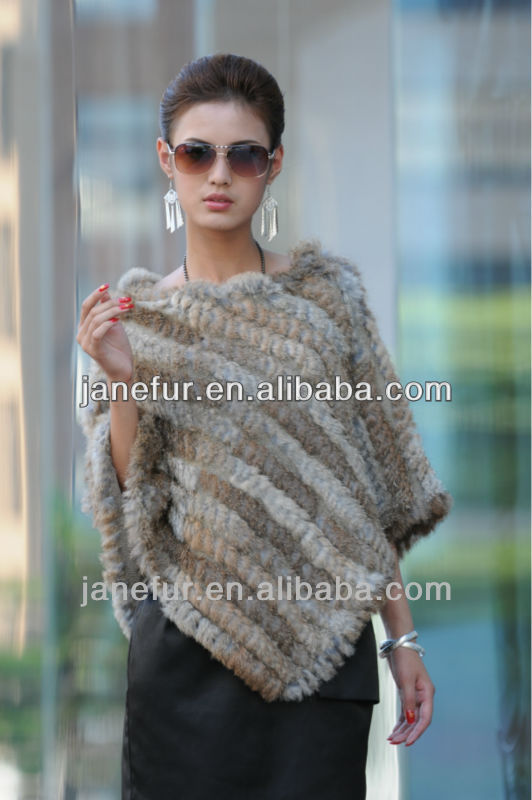 Deep bule or grey knitted big yard rabbit fur shawl /vest out of stock
