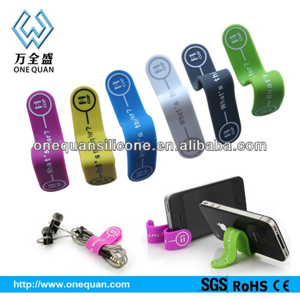 silicone multifunction magnetic clip for mobile phone stand earphone winder / bobbin/ cabletwister/ cable tie