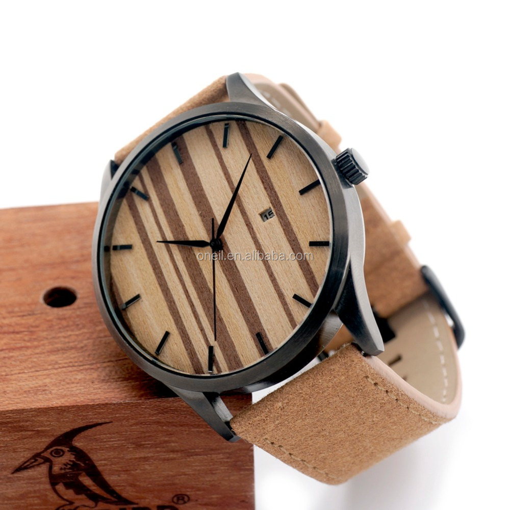 HOT!Top well Wood watches for Men Brown Leather Strap Wristwatches Genuine Leather Band with Gift Box