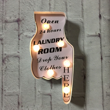 Outdoor hand shaped wall hanging lundary room decorative marquee lighting custom light up sign led