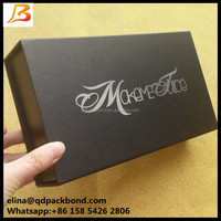 Personalized e liquid bottles magetic closure black printing gift box with silver hot stamped logo