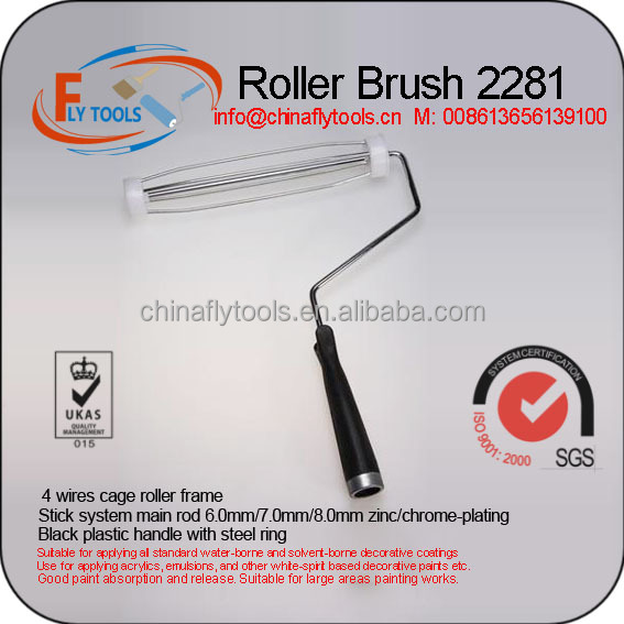 plastic handle with steel ring paint roller brush