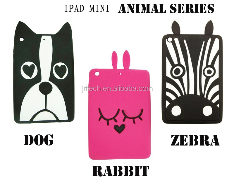 Custom 3d silicone cartoon case for ipad mini, 3D silicone cartoon sleeve cover for ipad mini