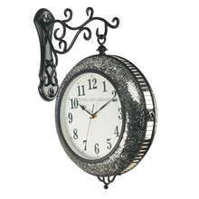 Home decor mosaic double sided wall shabby chic clock