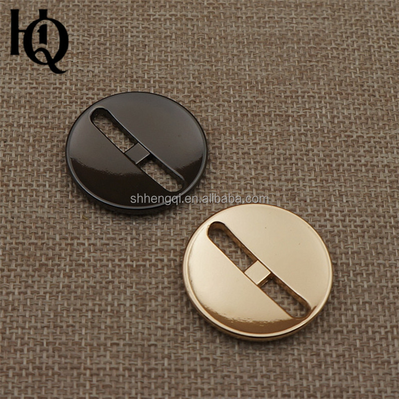 High-end special holes shape fancy metal buttons with round shape