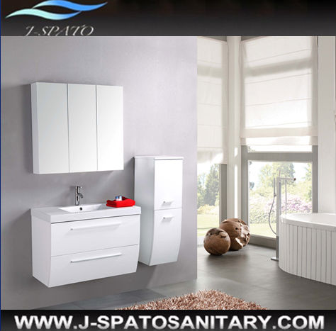 Modern home furniture in china stainless steel hinged mdf/pvc floor standing mirrored storage bathroom furniture set
