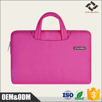 Most popular pink color customized nylon durable ladies laptop handle bag
