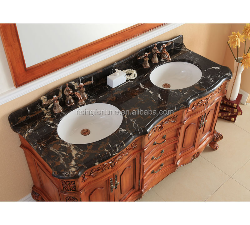 Natural marble vanity top with wood cabinet and ceramic sink