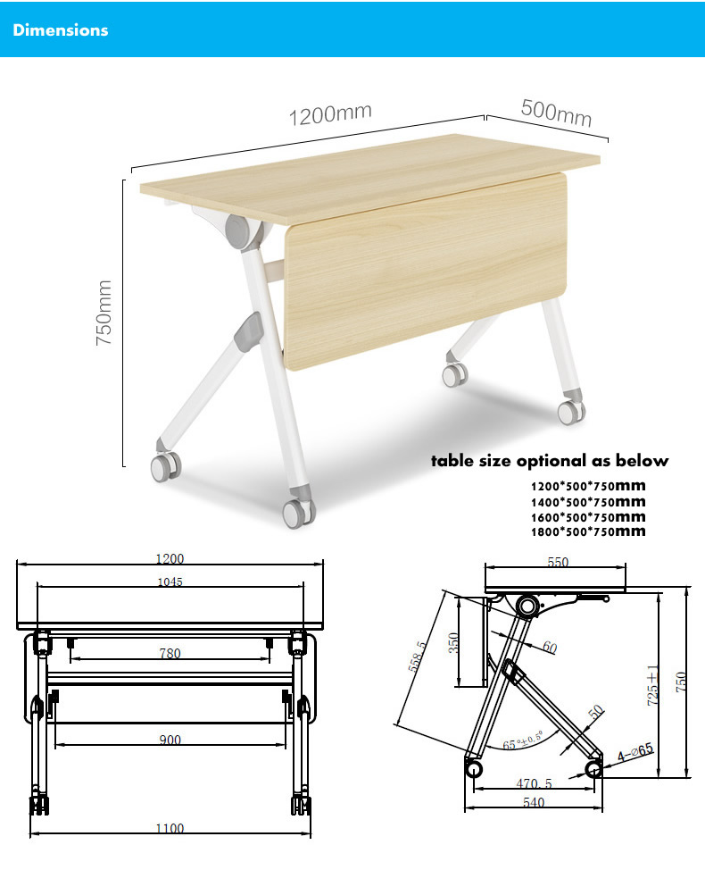 Simple Office Metal Movable Collapsible Training Table Buy Movable - Training table dimensions