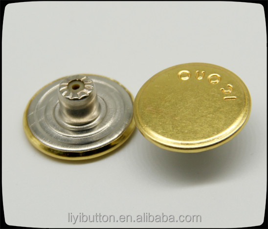 simple design gold screw jeans button, material is from brass