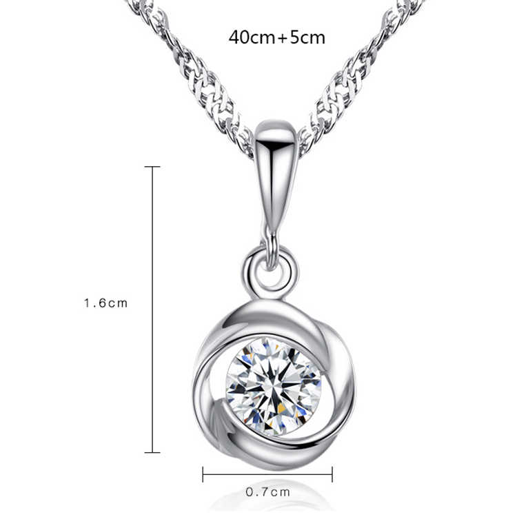 Cubic Zirconia Necklace Jewelry Rose Diamond 925 Silver Necklace for Women