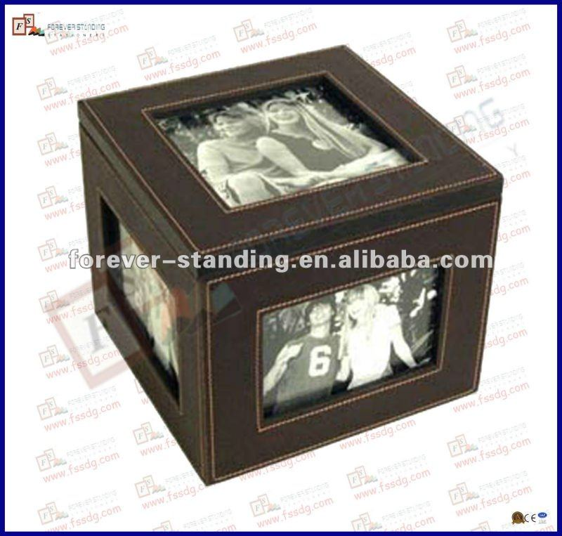 square leather photo gift box