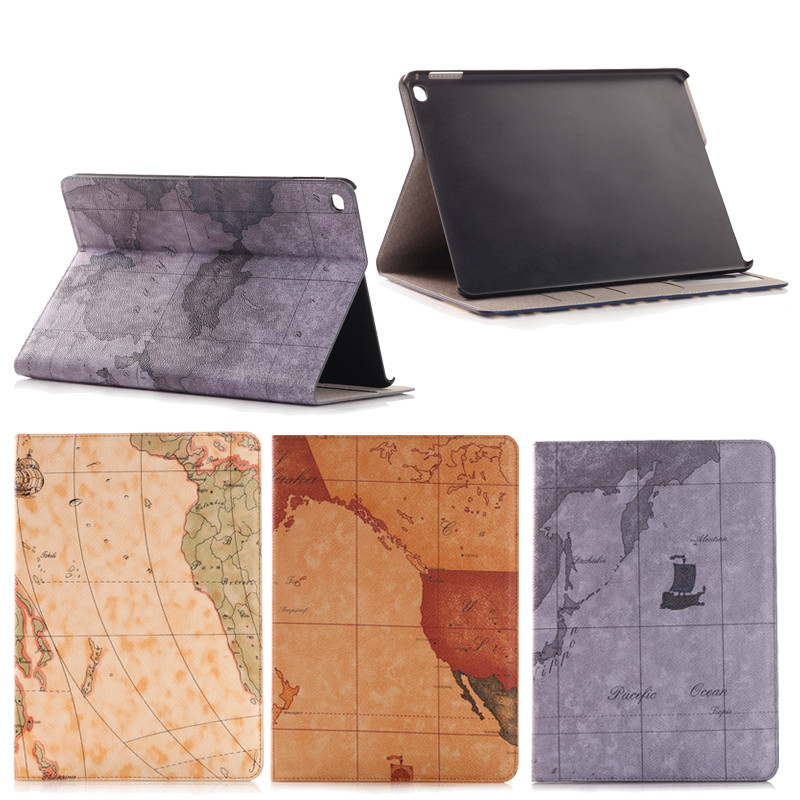 Factory lowest price Map design Leather Case for iPad Pro 12.9 with wake up/sleeping function