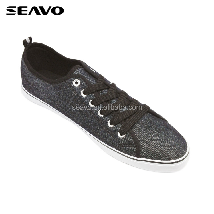 SEAVO SS18 fashion plain design rubber sole brown men long canvas shoes