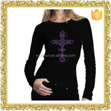 Newest Style slim fit women rhinestone custom design t shirt factory price