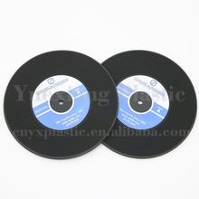 professional supplier wholesale order custom pvc rubber silicone vinyl record coaster drink coaster set
