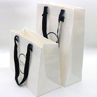 CUSTOM WHITE GLOSSY ART PAPER PACKING PAPER BAGS FOR SHOPPING WITH LOGO PRINTED