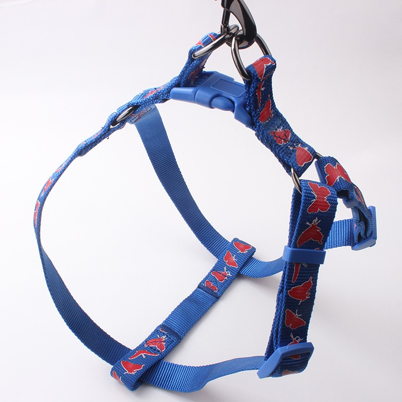 Wholesale Good Quality Nylon Sample Free Silk Screen Print Metal Chain Dog Harness