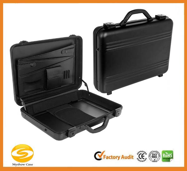 Molded Black Aluminum laptop carry case,hard shell briefcase