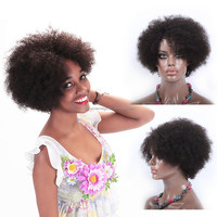 sexy short hair nude girl sculpture fashion show short human hair wig for black women