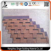 China Supplier Competitive Price Fiberglass Modified Bitumen , 3-tab Red Asphalt Roofing Shingles