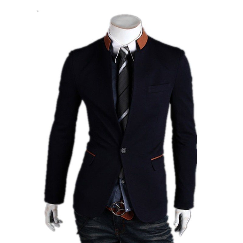 MOQ 1 pc cotton and polyester mixed stand collar british style tunic suit for man