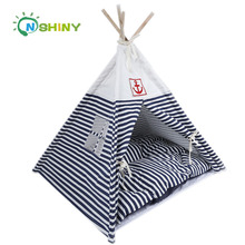 Fashion folded tent pet bed house for dog wooden pet cat bed washable cute soft dog tent bed
