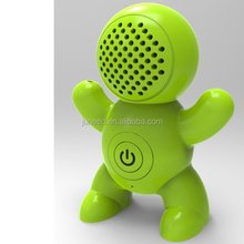 Mini portable size and cartoon robot design bluetooth speaker, Adjust volume via smart phone