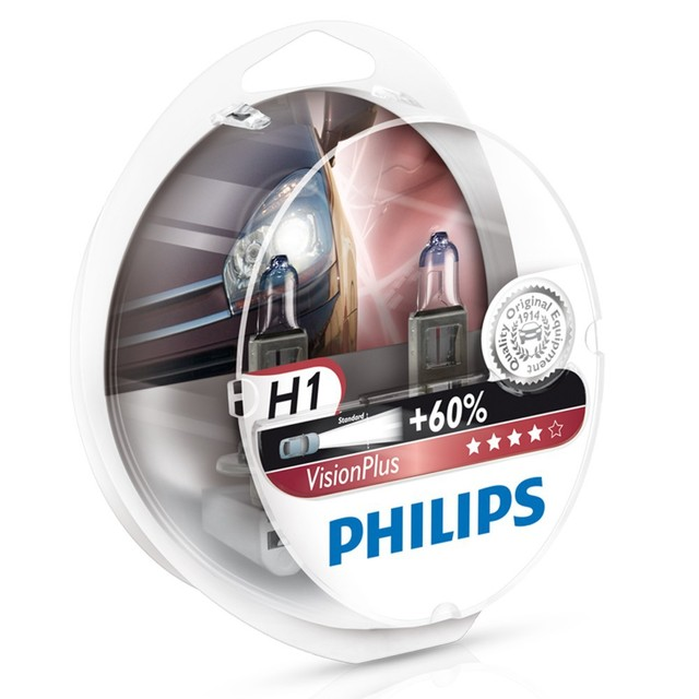 Genuine Philips Vision Plus H1 Halogen Bulbs (Twin) 12258VPS2 - Also available in H4 & H7