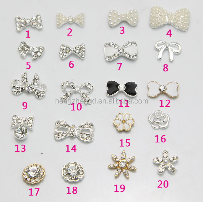 Factory direct hot selling rhinestone bowknot 3D nail art