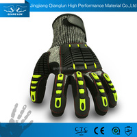 QLSAFETY 13G Palm coated hi-vis oil field work gloves for miners