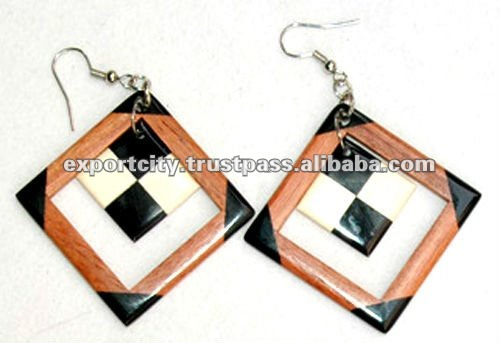 Beach style wood earrings (wood bone) exotic tropical