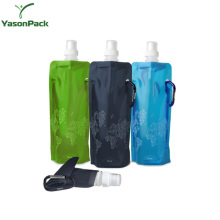 Carabiner foldable plastic packing stand up drinking reusable water pouch for kids with spout