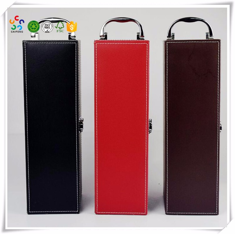 PU Leather single bottle Wine Box Carrier from 11years China factory