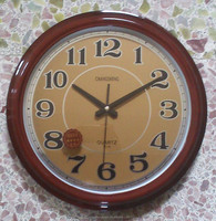 14 inches wooden colour plastic wall clock with golden dial