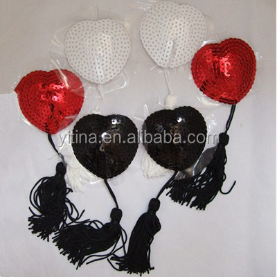 3colors Adhesive Sequin Tassel Heart-shaped Sexy Girls Pasties Breast Petals