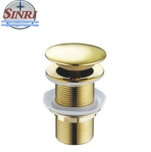 "A010 China Suppliers Sanitary Wares Kitchen Sink Drain Filter Big Cap Gold color 1 1/4"" Zinc Alloy Waste Drain"