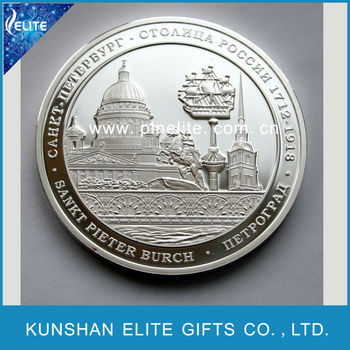 top quality polished technique metal 3D silver coin,custom 2 pound coin for sale