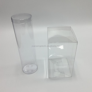 Food grade PET material type clear round acetate box for cake Custom acetate clear plastic PET box cylinder with good glue